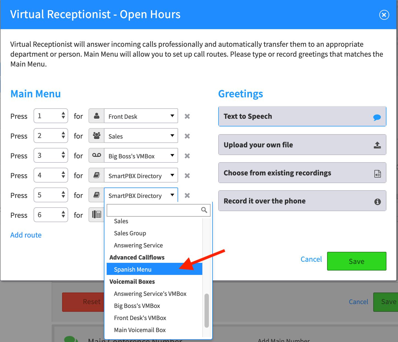 Virtual recept callflow add spanish menu.png